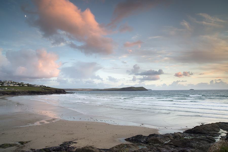 Polzeath Beach in Cornwall England At Sunset