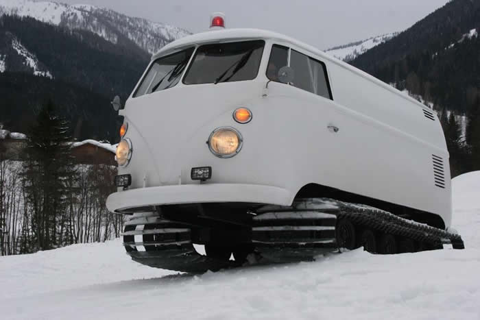VW Campervan with Snowtracks