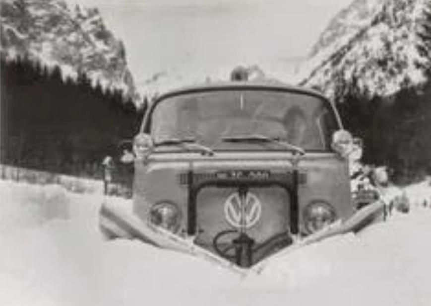snow plough vw campervan