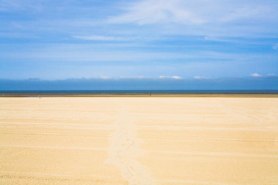 Wide Flat Sandy Beach In Normandy