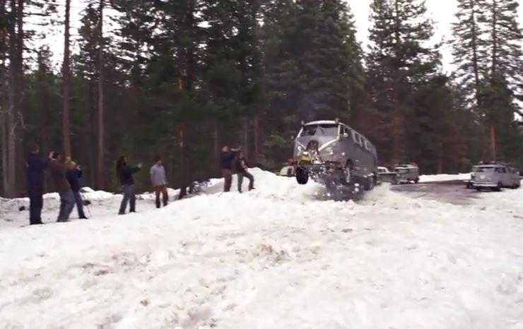 VW Camper Snow Jump