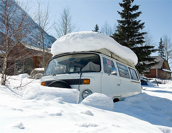 VW Campervan in the snow